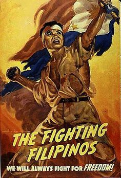 "This 1943 Commonwealth poster depicting the ""Fighting Filipinos"" seems to suggest that the Cuban blue was the shade used for the Philippine flag."