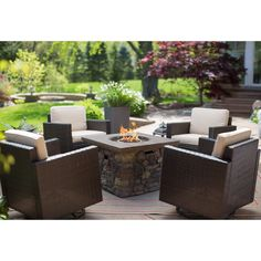 Have to have it. Coral Coast Berea Wicker Red Ember Sheridan Fire Pit Chat Set - Seats 4 - $1999.99 @hayneedle