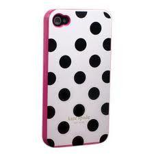 Kate Spade Designer iphone 4/4s Large Dots Case- White