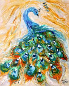 Peacock painting original oil  abstract palette by Karensfineart
