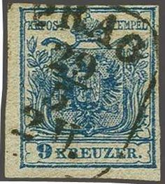 """Austria, Michel 5X. 1850: Arms definitive, hand-made paper 9 kr. blue, type III, plate 5 on vertically laid paper (gestreiftes Papier), a fine example with fresh colour and good to large margins, neatly cancelled by framed """"PRAG 29/5 2 U."""" datestamp. A rarity of Austrian philately. Sign. Friedl, cert. Matl (1980). Ferchenbauer = € 18'500"""