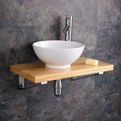 Floating Bathroom Sink, Wooden Bathroom Shelves, Wood Bathroom, Wooden Shelves, Bathroom Interior, Small Bathroom, Wood Shelf, Shelf Wall, Bathroom Storage