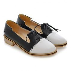 Sweet Color Block and Lace-Up Design Women's Flat Shoes