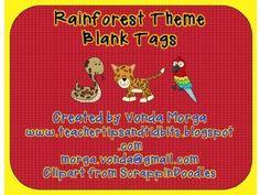 Rainforest Jungle Themed Blank Tags editable - on TPT
