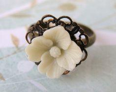 Antique Ivory. Adjustable Flower Ring, Vintage Floral Cabochon, Brass Filigree
