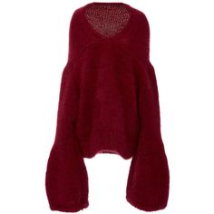 Tuinch     Bell Sleeve Sweater ($2,065) ❤ liked on Polyvore featuring tops, sweaters, red, v neck sweater, bell sleeve tops, drop shoulder tops, red v neck top and flare tops