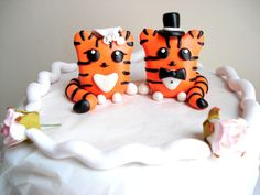 Tiger Wedding Cake Topper Tigers Bride and Groom by MagicalGifties