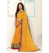 Yellow   Banarasi Gota Silk Printed With Embroidery Lace Border Saree