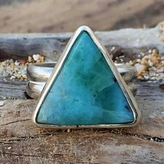 Atlantis consciousness  Just did a little sale on this piece. Lovely little Larimar Triangle:) someone with small fingers will love this size 4   #Larimar #larimarring #larimarjewelry #beachyjewelry #beachy #hawaii #maui