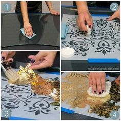 stencil how to reverse stenciling and gilding on glass, painted furniture, Large Florence Tile Wall Stencil