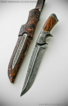 André Andersson Custom Damascus Knives - Knives, Daggers, Swords and Artknives from Sweden Damascus Knife, Damascus Steel, Damascus Sword, Swords And Daggers, Knives And Swords, Katana, Lame Damas, Mode Steampunk, Leather Pearl Necklace