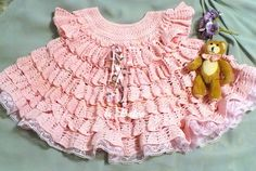 Gorgeous Baby Dress with Volants free crochet pattern