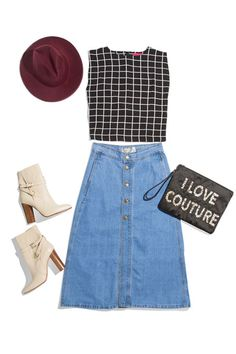 Denim Skirt + Crop Top + Ankle Boots