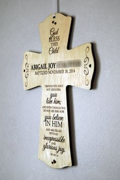 Personalized Wooden Baptismal Cross by Blocksbyheather on Etsy