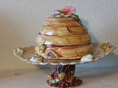 Large Ceramic Bee Hive Skep MADE TO ORDER 2 Pc Includes Plate Stand And Dome Decorated With Bumble Bees Flowers This Is A