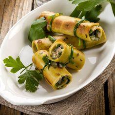 Roulés de pancakes végétariens au seitan, oignon et persil