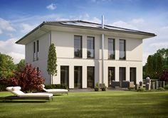 """Elegante Symmetrien, schöne Proportionen, harmonische Fensterformate und -teilungen prägen das Äußere der Stadtvilla """"Life""""."""