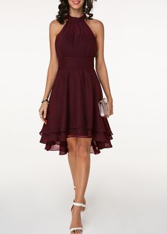Women Summer Boho Cold Shoulder Chiffon Midi Dress Sleeveless Halter Neck Solid Party Cocktail Asymmetrical High Low Homecoming Bridesmaid Dresses Wine Red - Homecoming Dresses - Ideas of Homecoming Dresses Trendy Dresses, Women's Fashion Dresses, Dresses For Sale, Casual Dresses, Summer Dresses, Dresses Dresses, Blue Dresses, Evening Dresses, Club Party Dresses
