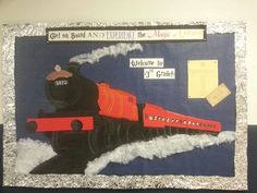Bulletin board outside of the classroom. The yellow paper is the acceptance letter with a list of the students in my class, and of course the Hogwarts Express ticket. I just projected the picture through the dot cam, traced it, copied it and cut it out.