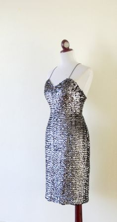 1970s Sequins Dress / 70s Glam Dress / by RetroKittenVintage, $65.00