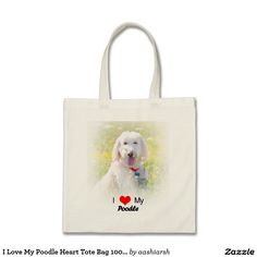 I #Love My #Poodle Heart #Tote #Bag 100% cotton #shopping #women #ladies #shop #pet #dog #doggie