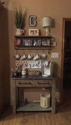 coffee bar- farmhouse style. could fit into a small space. #kitchenremodel