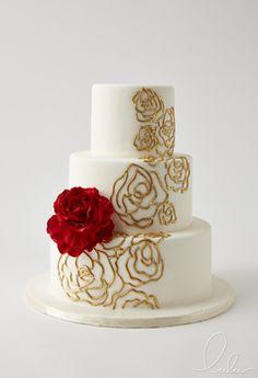 Beautiful cake by Lulu NYC Bow Wedding Cakes, Elegant Wedding Cakes, Red Wedding, Garden Wedding, Beautiful Birthday Cakes, Beautiful Cakes, 50th Anniversary Cakes, Fondant, Mini Cakes