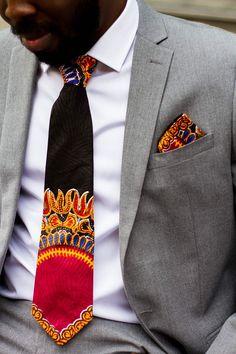 Dashiki African tie and matching pocket square: Ankara par Laviye