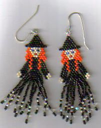 seed bead tutorial earrings also include wizard earrings and bracelet (magic hap. seed bead tutorial earrings also include wizard earrings and bracelet (magic happens) Seed Bead Tutorials, Seed Bead Patterns, Beaded Jewelry Patterns, Beading Tutorials, Beading Patterns, Fun Patterns, Bracelet Patterns, Theme Halloween, Halloween Beads
