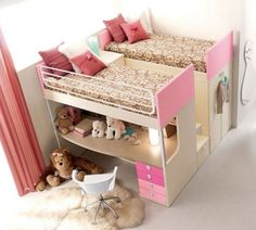 Such a cool idea for bunks/lofts; no arguments over who's on top or bottom. Beds on top, closet/storage/desk on bottom, steps and night table down the middle!