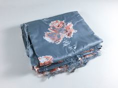 Vintage Gray Flower Fabric Gray Fabric Gray Flower Fabric Spring Fabric Spring Flower Fabric Retro Gray Peach Floral Fabric Sewing Craft - pinned by pin4etsy.com
