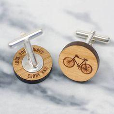 Wooden bicycle secret message cufflinks