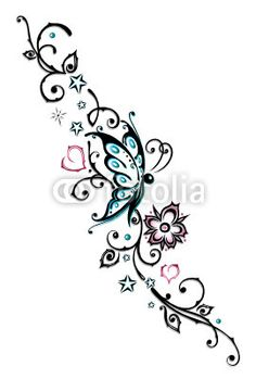 Vektor Ranke Blumen Tattoo Tribal Türkis Rosa