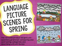 LANGUAGE FOR DIVERSE GROUPS!!  This product includes four picture scenes and four language prompt sheets to encourage language skills with diverse groups of students! Each sheet includes prompts for wh-questions, grammar, comparing and contrasting, categories, and describing with attributes!