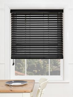 Gloss Midnight Black Wooden Blind - available in 50mm slats, this painted wooden blind features a high gloss finish, giving it a great shimmer and shine at your window. #blinds #wooden #venetian