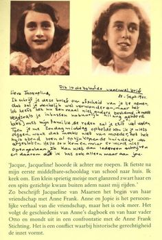 Farewell letter of Anne Frank to her friend Jacqueline van Maarsen