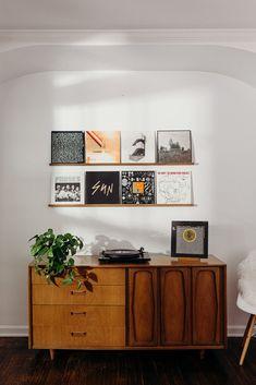 Record Decor, Vinyl Record Display, Record Shelf, Vinyl Record Storage, Record Wall, Vinyl Shelf, Home Music Rooms, Room Decor, Wall Decor
