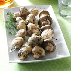 Contest-Winning Grilled Mushrooms Recipe -Mushrooms cooked over hot coals always taste good, but this easy recipe makes the mushrooms taste fantastic. Grilling Recipes, Cooking Recipes, Healthy Recipes, Grilled Vegetables, Fruits And Veggies, Side Dish Recipes, Vegetable Recipes, Side Dishes, Grilled Mushrooms