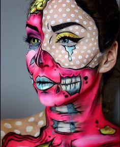 DIY Halloween Costumes for Women – Pop Art Makeup pop art zombie Pop Art Makeup, Crazy Makeup, Makeup Ideas, Nail Ideas, Makeup Tips, Looks Halloween, Halloween Costumes, Halloween Zombie, Halloween Parties