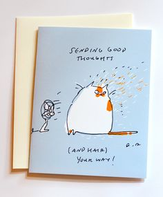 Sending good thoughts and hair your way Cat Card by jamieshelman, $4.95