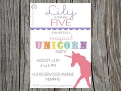 Unicorn Rainbow Party Printable Invitation
