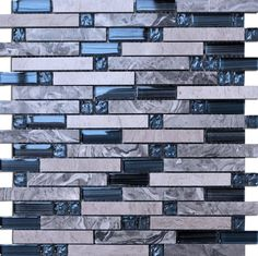 797ef27ed97 A mixed mosaic of blue glass and marble. The Marine Grey Mosaic makes a  beautiful kitchen splashback or bathroom feature wall.