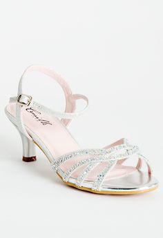 "Low heel rhinestone sandal features: • 2"" heel • Color coordinating heel • Adjustable ankle strap • Padded insole #camillelavie"