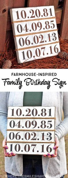 Creative Halloween Costumes - The Best Way To Be Artistic Over A Budget This Is Such A Cute Idea Display All Of Your Family's Birthdays With A Personalized Sign Rustic Farmhouse-Inspired Family Birthday Sign Where The Smiles Have Been Crafts For Teens To Make, Crafts To Sell, Easy Crafts, Diy And Crafts, Vinyl Crafts, Scrabble Crafts, Tree Crafts, Kids Crafts, Rustic Backdrop