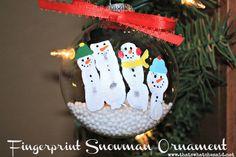 Fingerprint Snowman Family Ornament