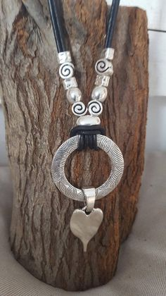 Ring, heart Pendant leather necklace, pendant, Boho, Gypsy, woman leather necklace check our Bracelets and earrings for matching pieces. please choose a length from dropdown menu ! packaging: Each piece we deliver in a nice bag with a small charm. So it is ready to give away. If it is a gift, we can also put a personal message with. Let us know what you want to tell your friend. We are also happy to manufacture according to your wishes. Please contact us. Important and useful reference:...