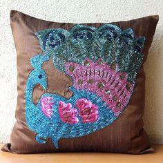 """Beade Multicolor Peacock 18""""X18"""" Art Silk Brown Accent Pillows - Blue Peacock"""