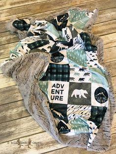 Minky Baby Blanket Lumberjack Nursery Baby Boy Blanket Navy
