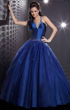 BallGown V-neck Satin Floor-length Royalblue Beading Quinceanera Dress at sweetquinceaneradress.com