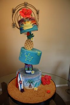 Hawaiian luau holy crap thats a crazy cake!! Too much Bacardi in design phase me thinks